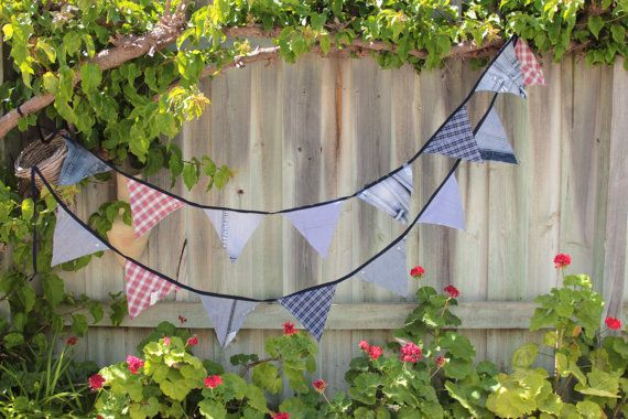 Jeans and Checks Bunting 15 flags 4m long plus by Buntingbybubbles