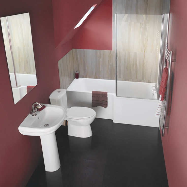 The square shower bath in this Milano bathroom suite combines plenty of bathing and showering space