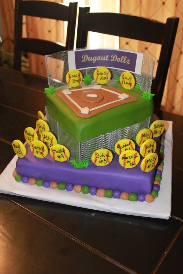 end of the year softball party team cake