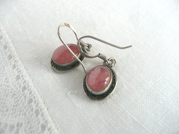 Pink coral earrings  silver coral earrings  by toastandmarmalade1
