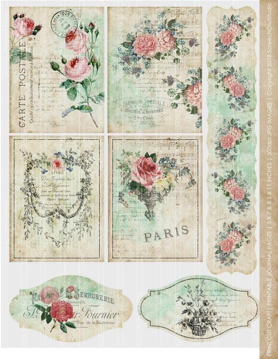 Ephemera Vintage Embellishments for Junk Journals Digital Flower Prints Junk Journaling Cards Digital Flower Clipart Ephemera Flowers