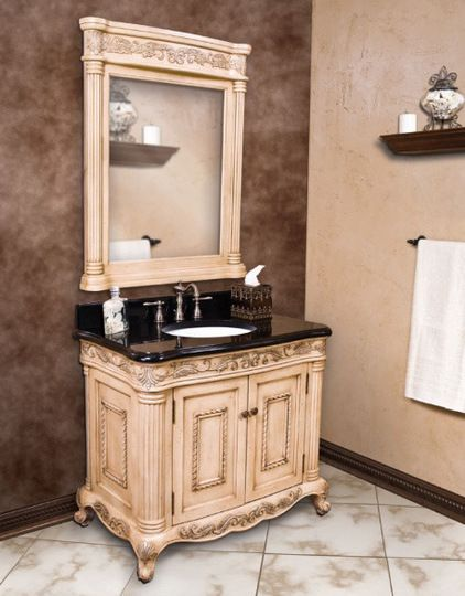 Antique White Ornate French Bathroom Vanity Traditional Bathroom Vanities  And Sink Consoles