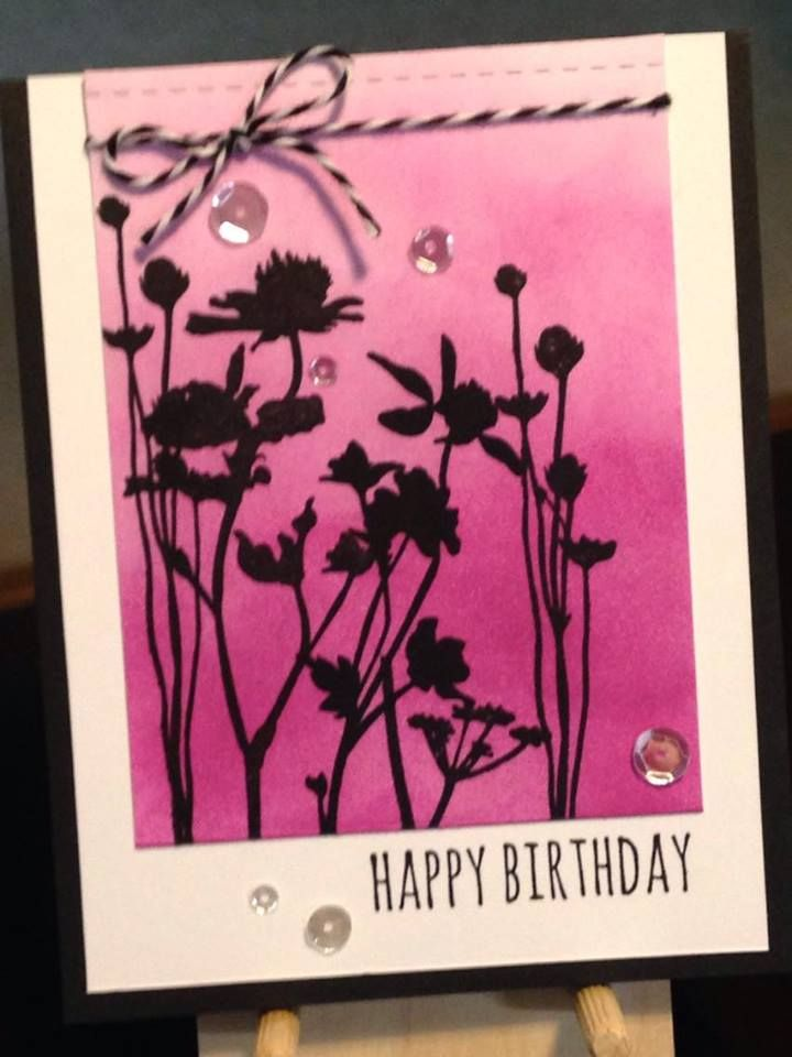 Birthday Card - Inks: Memento Lilac Posies, Versafine Onyx Black - Stampers Anonymous/Tim Holtz Stamps: Crazy Talk, Wildflowers - Paper Smooches Stitched Dies - Pretty Pink Posh Sparkling Clear Sequins - American Crafts Bakers Twine - Paper: Neenah Classic Crest Cover Solar White 80lb, The Paper Studio Heavy Weight Black - Inspiration: https://cards.heathertelford.com/2012/05/24/black-and-white-plus-1-colour/