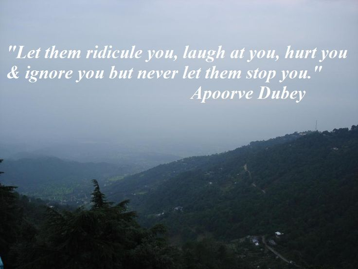 Let them ridicule you, laugh at you, hurt you & ignore you, but never let them stop you #InspirationalQuote