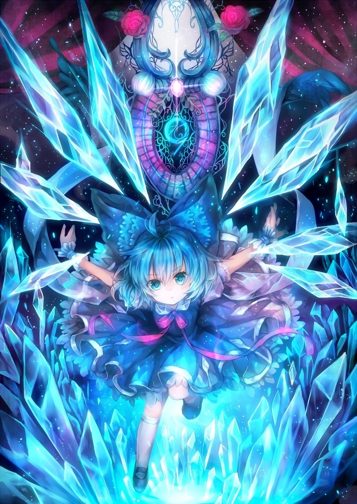 Cirno, the tomboyish and immature Ice Fairy. She often tries to prove that more powerful than she is, although she can be rather reckless in her attempts. She is powerful among fairies, but weak among Youkai.