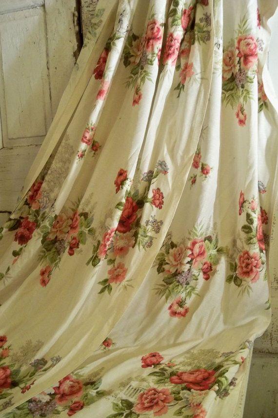 Beautiful floral vintage curtain set cream by AnitaSperoDesign, $80.00