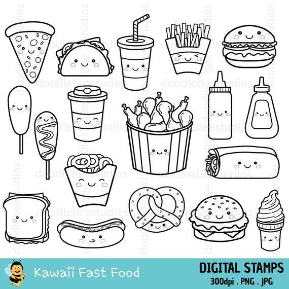 Kawaii Fast Food Clipart Kawaii Fast Food Clipart Cute Fast Food Digital Stamps Cute Fast Food Icons Kawaii Fast Food Coloring Pages In 2021 Food Coloring Pages Digital Stamps Cute Food Drawings