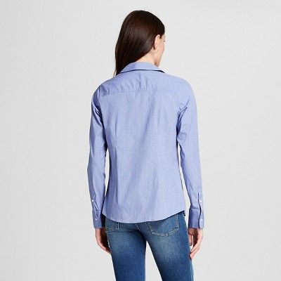 Women's Collared Button Down Shirt Uniform Blue L -Merona, Unifrom Blue