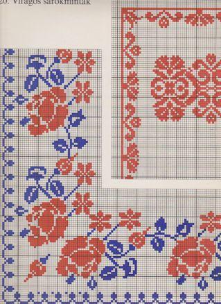 Flower corner cross stitch, border, frame, blue and red