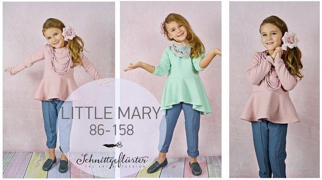 Little Mary ist ein wunderbar süßes Oberteil mit Schößchen.  Im Schnitt mehrere Nähvarianten  Oberteil mit kurzem Schößchen  Oberteil mit langem Rockteil / Kleid  Oberteil mit kurzem...