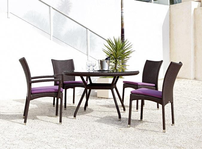 BOCA Round Table and SUNNY BEACH Arm Chair   The particularly light chairs SUNNY BEACH are stackable. The backrest and the seating comfort correspond to the model COCOA BEACH. The BOCA tables are available with the round plate in the diameters 90cm and 120cm as well as with a square plate 80x80cm. ~Rausch