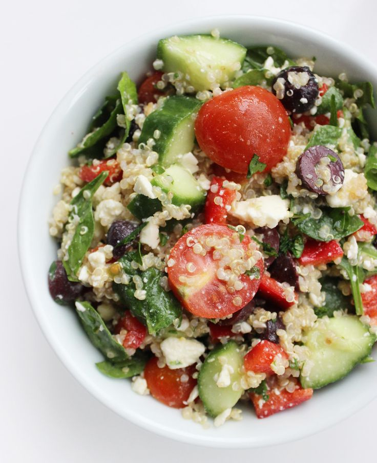 Try making this Mediterranean quinoa salad for a light, filling lunch that's fueling.