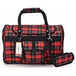Pet Travel Carrier with Privacy Covers for Small Dogs Cats and Other Small Animals  Airline Approved  Prefer Pets 312 Hideaway Duffle (Medium Red Plaid)