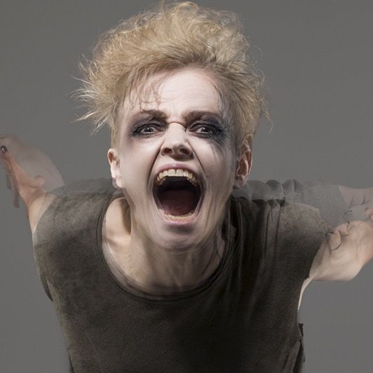 This is Maxine Peake... at the Royal Exchange in Manchester as the Skriker....one of several brilliant roles she has taken in the last couple of years....did you catch her as Hamlet?