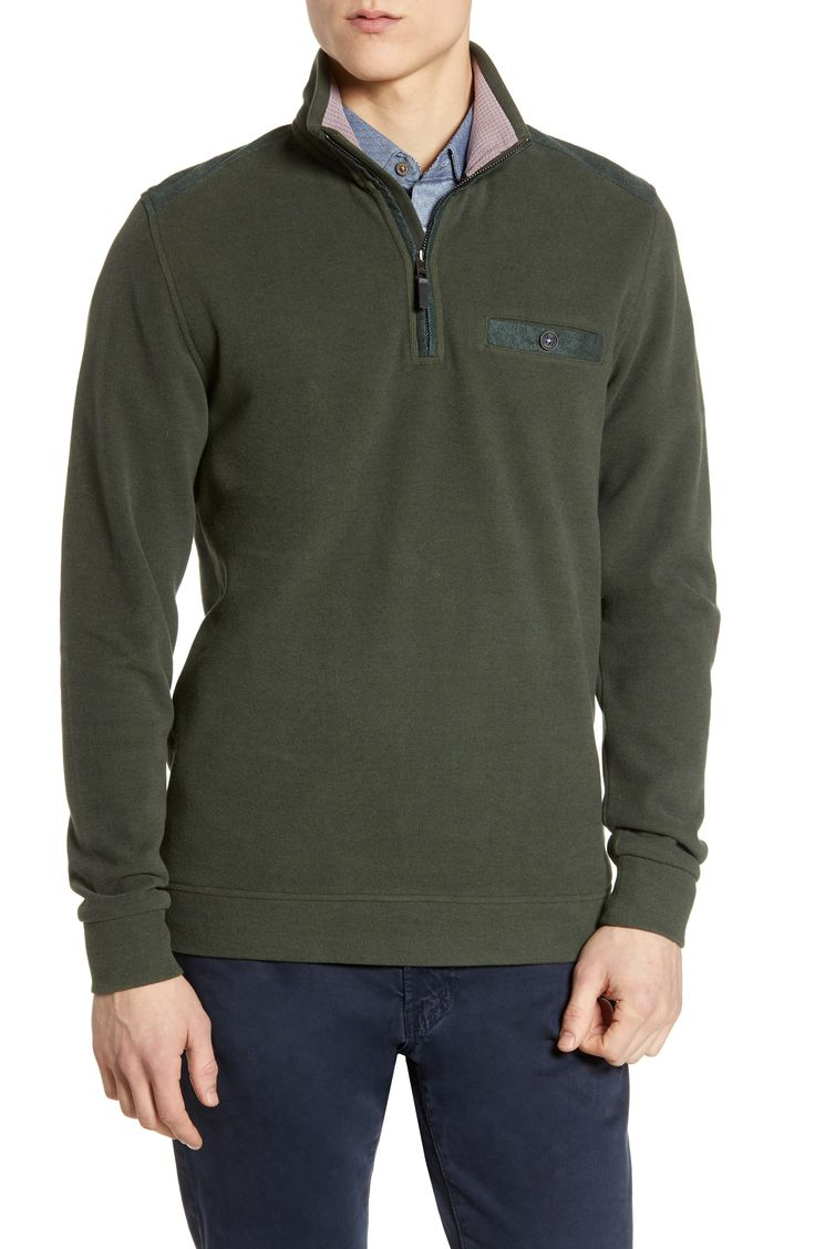 Men's Ted Baker London Decc Slim Fit Quarter Zip Pullover, Size 2(s) – Beige