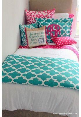 Jamming Jade Meets Preppy Pink Designer Teen & Dorm Bed in a Bag
