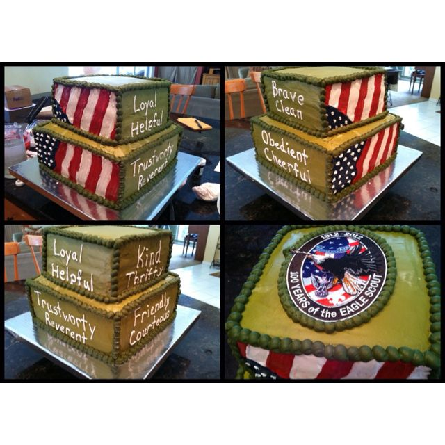 "Eagle Scout Court of Honor Cake I made for my son. I took a few different ideas I found online and combined them. We also added a patch we bought from the Scout Shop for an easy ""topper."""