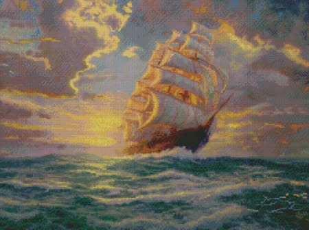 Thomas Kinkade Courageous Voyage : Famous Paintings in Cross Stitch - DIY Art - Sail Boat