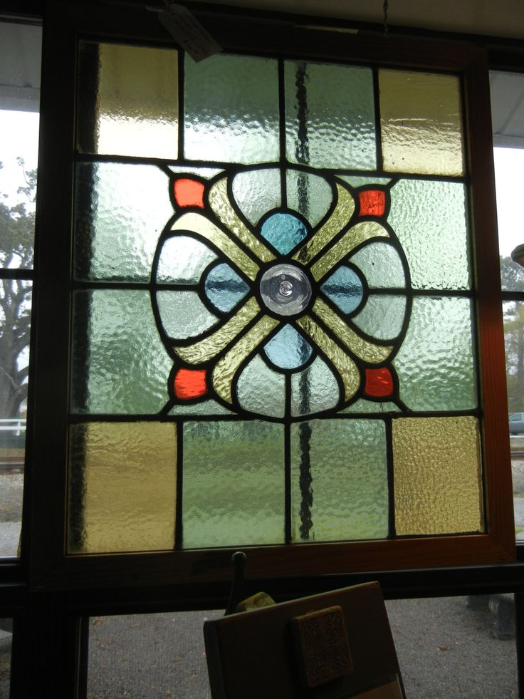 Antique stained glass window architectural salvage early for 1900 stained glass window