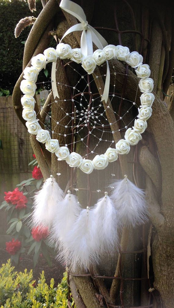 Ivory, White, Roses, 7″, Large Dream Catcher, Jewelry, Flower Dreamcatcher, Marriage ceremony Ornament, Child Bathe, Boho, Christmas Reward, Bride