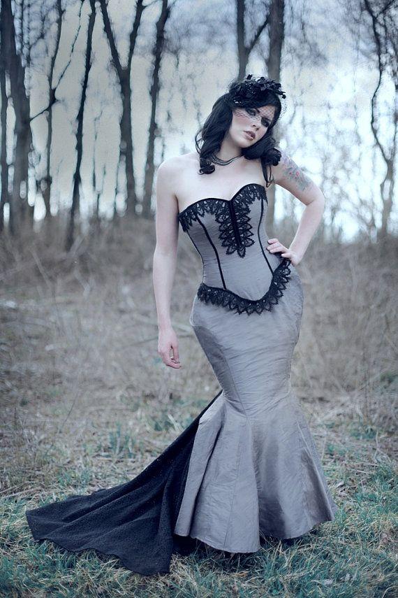 Steampunk Wedding Gown Mermaid Silhouette A Dark by KMKDesignsllc, $925.00