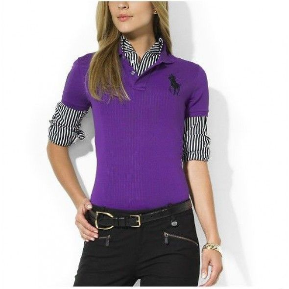 Ralph Lauren Classic Big Pony Purple Breathable Short Sleeved http://www.ralph