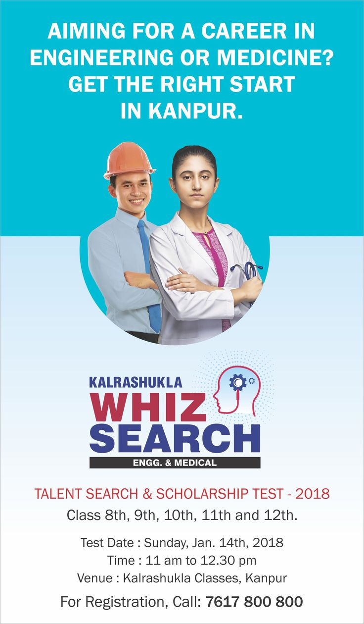 #Mumbai's No. 1 #CoachingInstitute for #engineering and #medical #entrances is also #Kanpur'sNo.1!  #Kalrashukla #Classes #WhizSearch #ScholarshipTest registrations now open. Call to register!  www.Kalrashukla.com