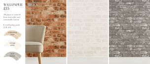 Cream brick wallpaper