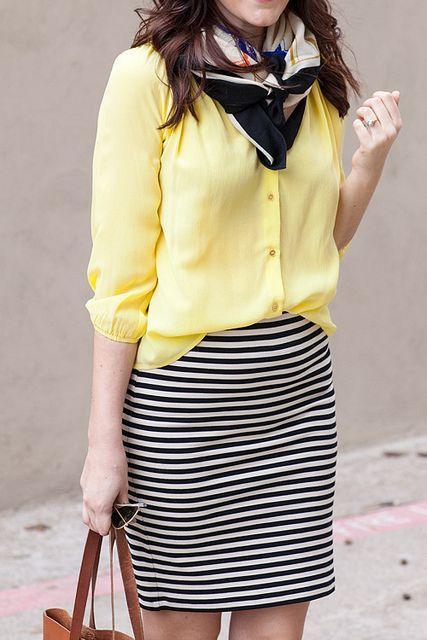 Lemon yellow + black and white stripes.