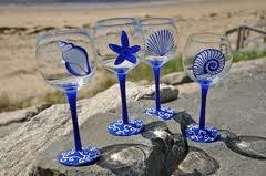 Painted wine glassesHands Painting Beach Glasses, Glasses Painting, Handpainted Wine Glasses Beach, Photos Ideas, Blue Shells, Beach Wine Glasses, Shells Hands, Painting Glasses, Painting Wine Glasses