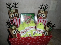 Movie Night Gift Basket complete with Snowman Candy Bars & Rudolph Popcorn Bags