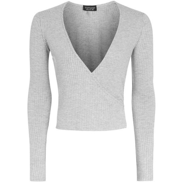 Topshop Long Sleeve Wrap Ribbed Top ($24) ❤ liked on Polyvore featuring tops, sweaters, grey marl, ribbed sweater, marled sweater, grey v neck sweater, topshop sweater and gray sweaters