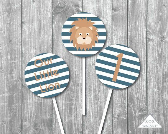 Little Lion Cupcake Toppers, Our Little Lion Birthday, Numbers 1-5, Boy Birthday Party, Printable Cupcake Topper, 2 inch stickers, PDF File