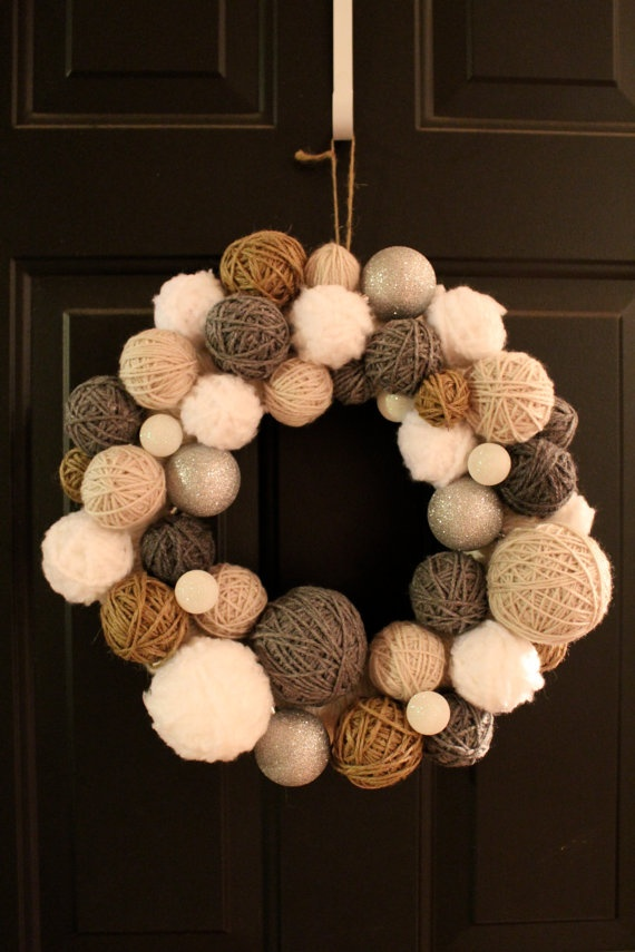 The sparklier the yarn the better for this yarn ball wreath!