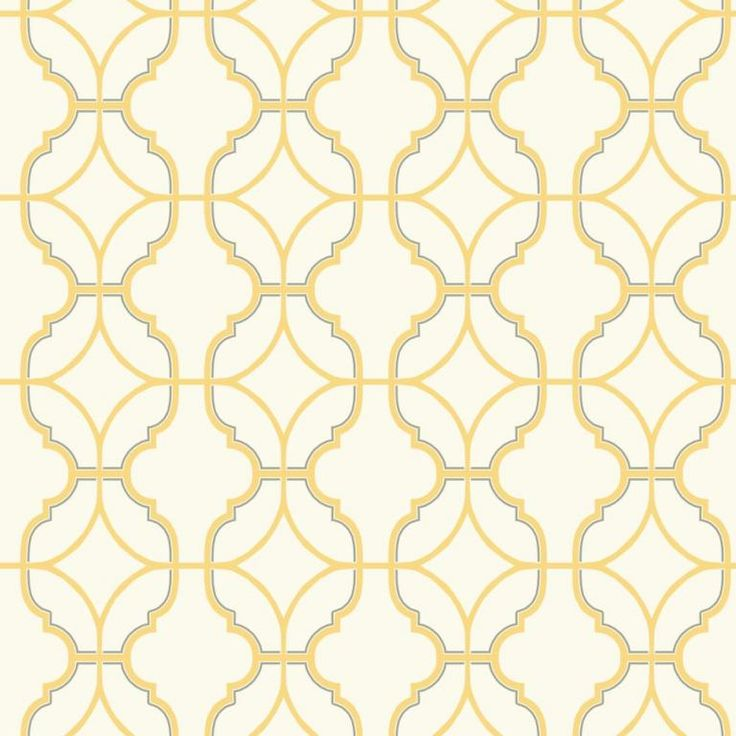 Trellis wallpaper design in buttery yellow on a cream background, from the Watercolours collection by Carey Lind Designs, WT4620  by York Wallcoverings. Available through Guthrie Bowron stores in New Zealand.