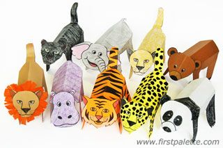 Folding Paper Zoo Animals: Print out, color, cut out and fold these printable zoo animals into three-dimensional paper figures. w.firstpalette.com/Craft_themes/Animals/Folding_Instructions/Folding_Instructions.html