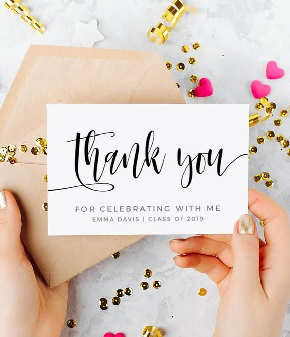 Graduation Thank You Card Template High School Graduation Etsy Graduation Thank You Cards Thank You Card Template Graduation Templates
