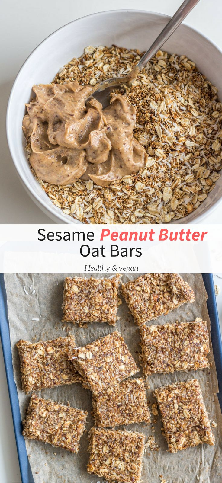 Try these Sesame Peanut Butter Oat Bars for a healthy snack, light breakfast, or dessert. Simple, flavourful, satisfying, and so tasty. Healthy vegan recipes|healthy| vegan| snack| dessert| recipes| vegetarian| The Mostly Healthy | snack bar