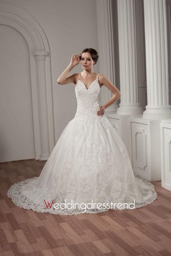 Wholesale and Retail V-neck Spaghetti Straps Beaded Satin Beach Wedding Dress - the Best Wedding Dresses Wholesale and Retail Online Store