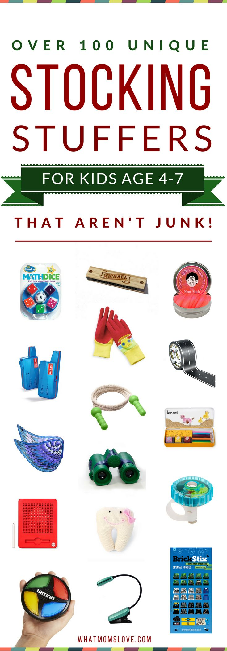 Best Stocking Stuffers For Kids Age 4-7 | Unique & Fun Gift Ideas For Your Kids' Stockings | Get the full list of over 200 creative ideas for kids of all ages and stages from babies to teens at whatmomslove.com