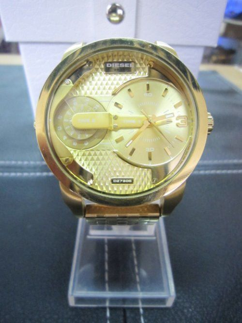 Diesel mens golden dial steel analog quartz watches DZ7306 #Diesel #Watches #wristwatch