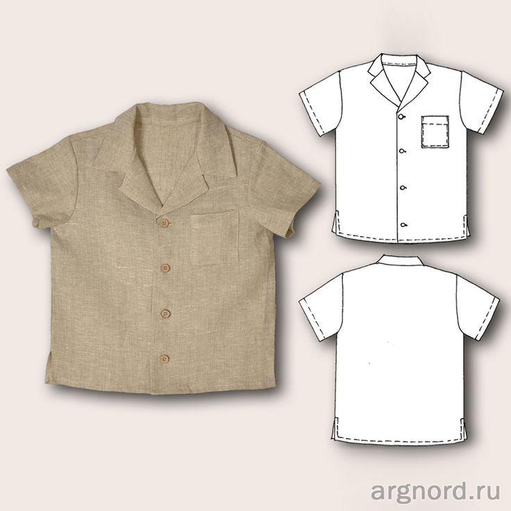 Рубашка изо льна для мальчика - Арт. СЛ-РУБ-МАЛ-1 - Свет лен