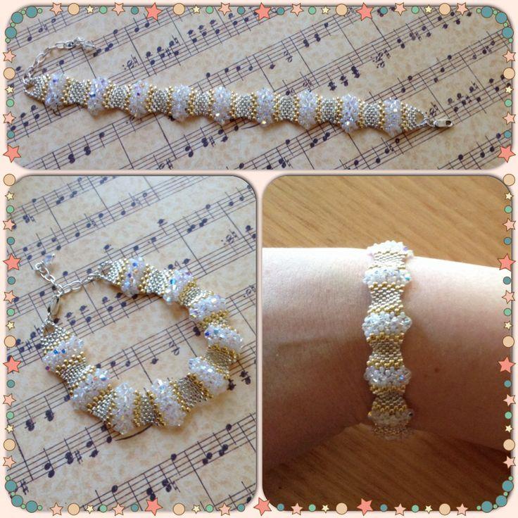 Swarovski crystal, seed bead and delicas, wavy peyote bracelet.