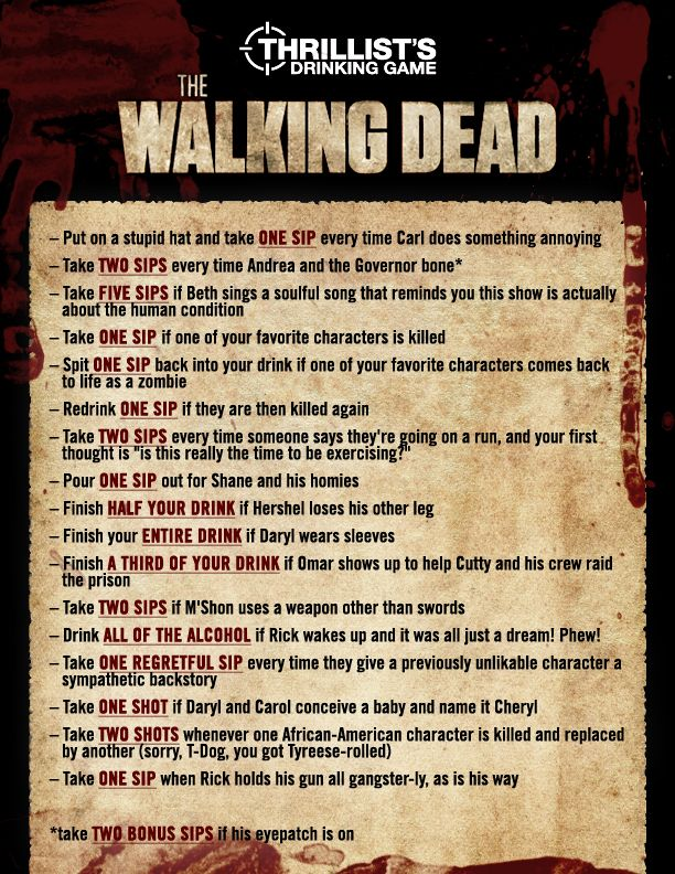 The Walking Dead Drinking Game :)