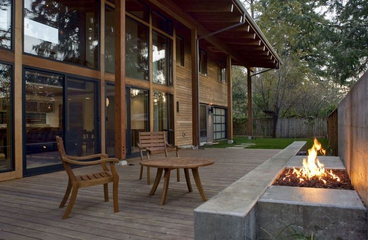 Featured. Brown Wooden Decks for Indoor and Outdoor Design: Excellent Outdoor Fireplace Wooden Deck Ideas With Minimalistic Designed Gas Fireplace Outdoor In The Backyard ~ wegli
