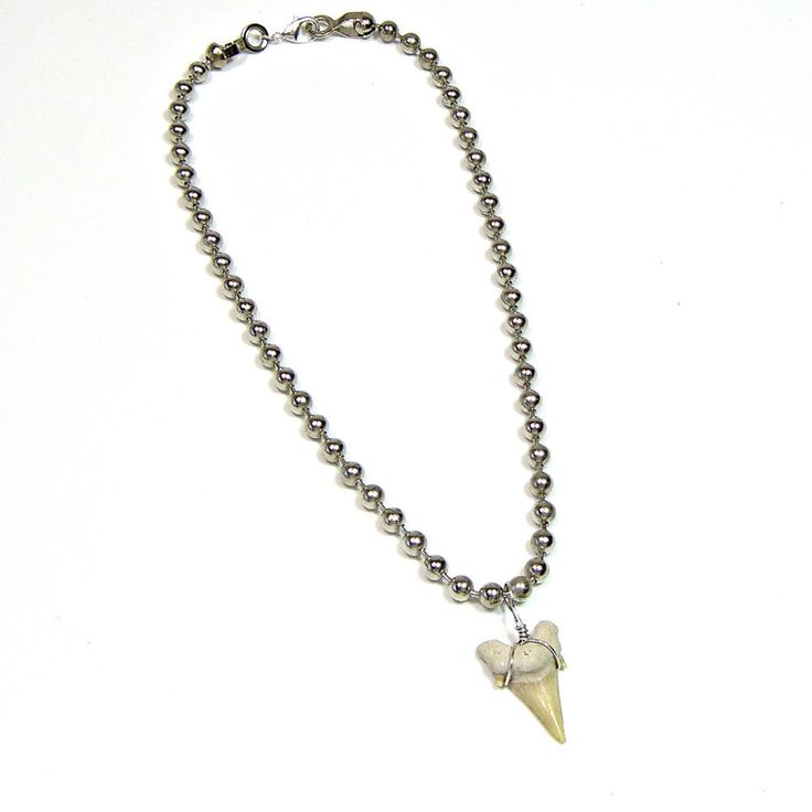 """Large Fossil Sharks Tooth Teeth Ball Chain Necklace Various Lengths 16""""-30"""" #Handmade #SurferTribal"""