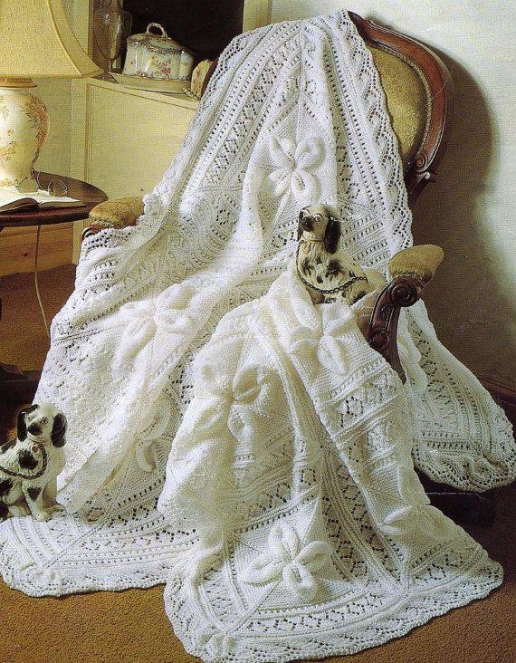 SALE *** Baby Knitting Pattern - Shawl and Cot Blanket Heirloom Keepsake Shawl pattern Leaf design