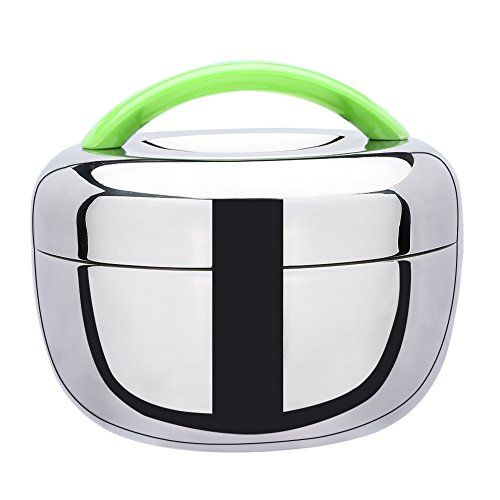 Kids' Lunch Boxes - Stainless Steel Double Layer Bento Box Food Container Lunch Box with Green Handle *** Click image for more details.