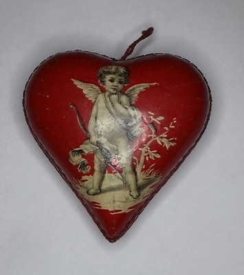 Antique Heart Shaped Red Candy Container with Cupid Valentine | eBay