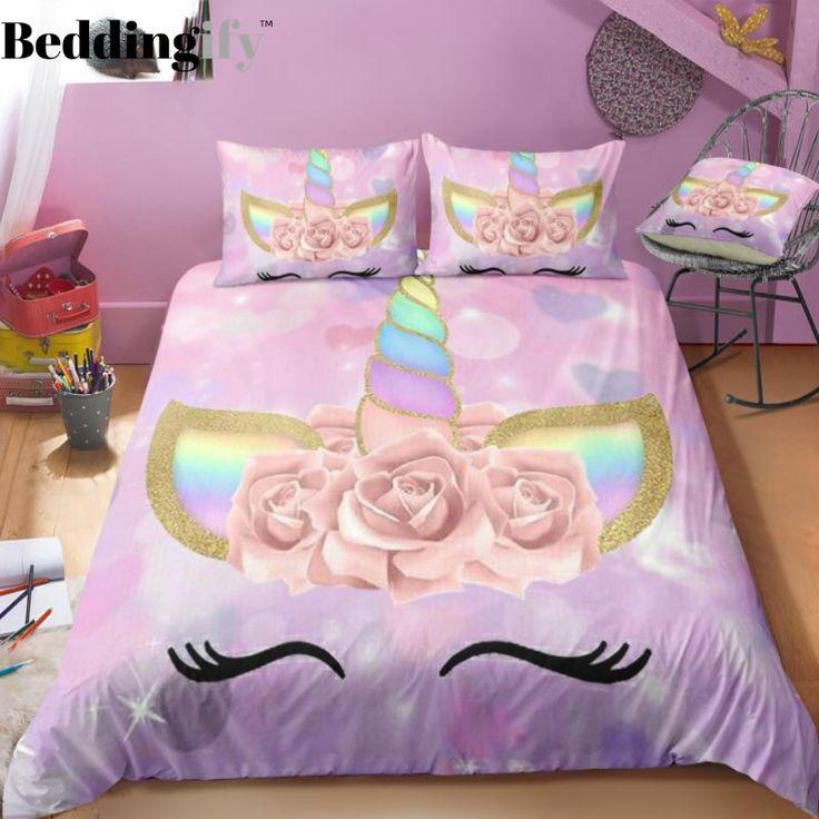 Purple Unicorn Lash Bedding Set In 2019 Unicorn Bedding